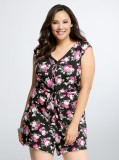 Sleeveless short bottom floral print romper women's plus sizes 12- 30