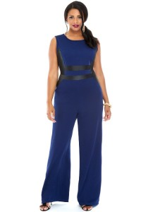 Techno Crepe Jumpsuit faux leather embellishment