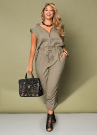 plus size jogger jumpsuit in olive and black