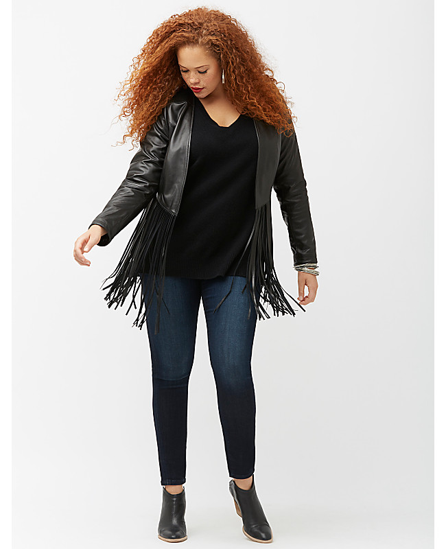 Women's Plus Size Fringe Leather Jacket