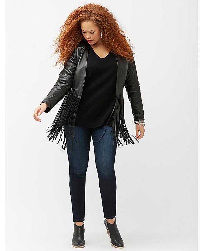 Women's Plus Size Fringe Leather Jacket