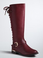 Lace up back wide width wide calf knee-high boots