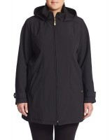 ELLEN TRACY Plus Hooded Zip Front Parka