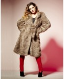 Faux Fur Belted Coat Women Plus Sizes