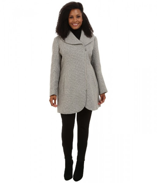 Jessica Simpson Plus Size Asymmetrical Braided Wool Coat with Shawl Collar