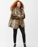 Plus size leopard print faux fur coat