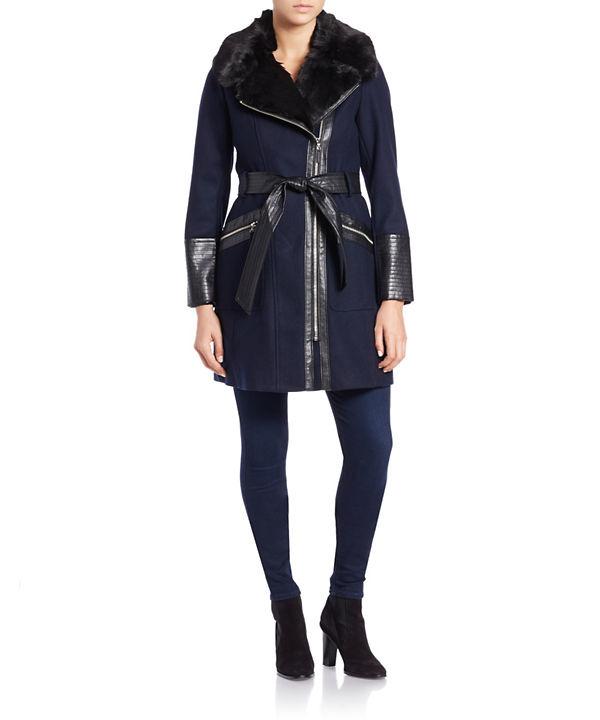 VIA SPIGA Plus Leathertte and Faux Fur-Trimmed Coat