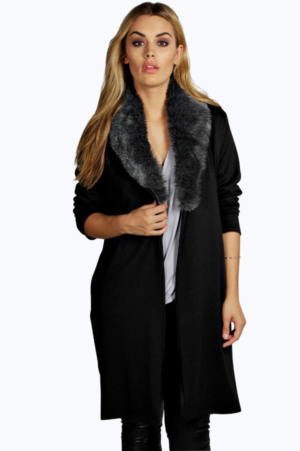 Faux Fur Trim Jacket Women Plus Sizes