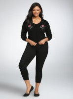 Womens Plus Sizes Iron Fist Freak Embroidered Cropped Cardigan