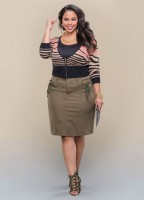 Animal Print Zipped Front Cropped Cardigan In Women Plus Sizes