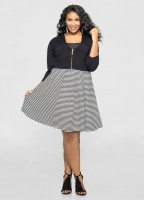 Solid Color Cropped Plus Size Cardigan With Front Zip