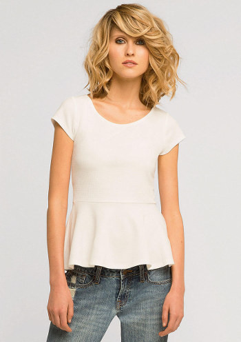 Ivory Solid Textured Peplum Top Women Sizes XS XXXL