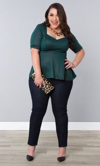 Plus Size Business Casual Twinkle Ponte Peplum Top