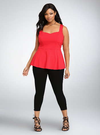 Bright Red Ponte Peplum Top In Women Plus Sizes L to XL