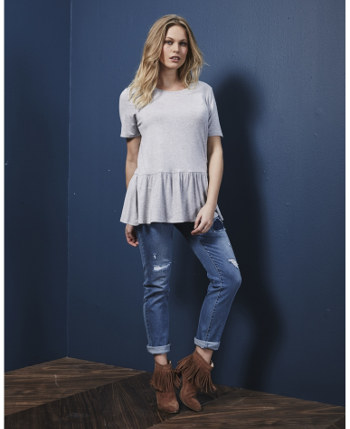 Soft Jersey Peplum Top Casual Tee with flaring bodice