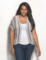 Women's plus size striped open cardigan with short sleeves