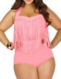 Womens Plus Sizes Retro High Waist Braided Fringe Top Bikini Bathing Suit