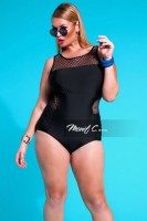 Mesh One Piece Bathing Suit In Plus SIzes