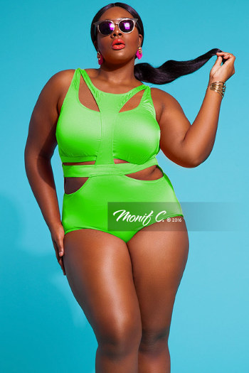 Lime Cut Out Bandage Monokini Swimsuit