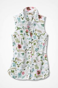 Easy Care Cotton Sleeveless Tunic Floral Print