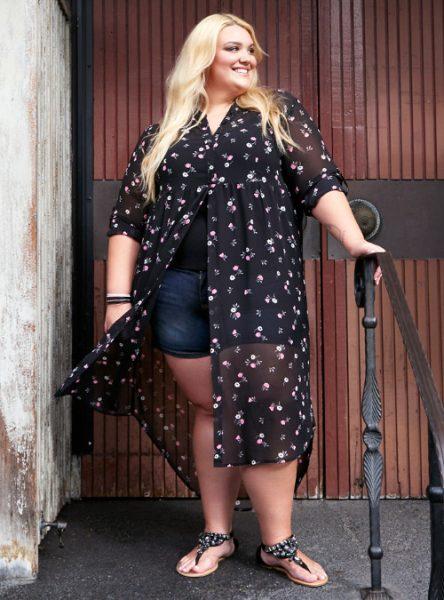 Fashionable Maxi Length Floral Chiffon Tunic