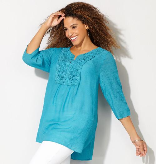 Women's Plus Size Crotchet Popover Tunic