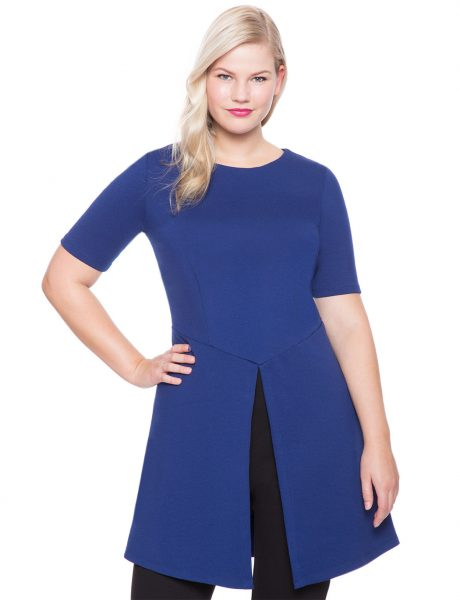 Womens Plus Size Ponte Silhouette Double Slit Tunic
