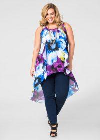 Women's Plus Size Floral Print Ruffle Hi-Lo Tunic