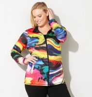 Plus Size Abstract Active Jacket