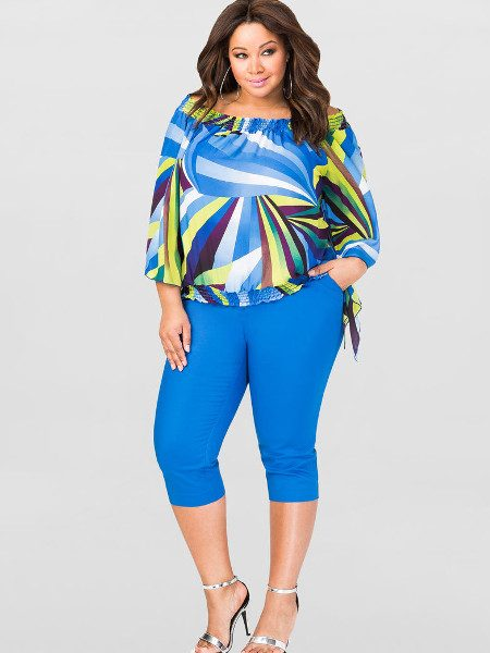 Off Shoulder Peasant Top In Womens' Plus Sizes
