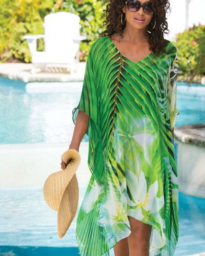 Plus size caftans double as a cover-up