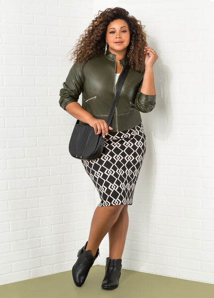 Pencil Skirt Zip Up Faux Leather Jacket Outfit
