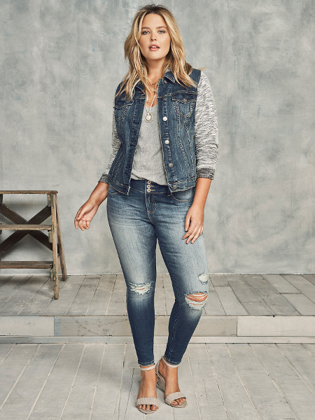 Womens Plus Size Denim French Terry Jacket
