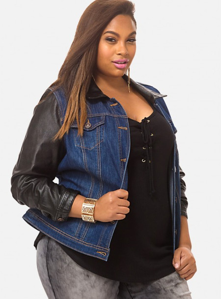 e plus size denim jacket that features a sleek faux-leather collar and sleeves. C