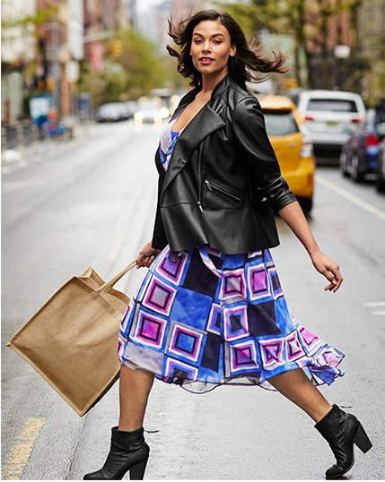 Romantic fit and flare dress topped with faux leather jacket