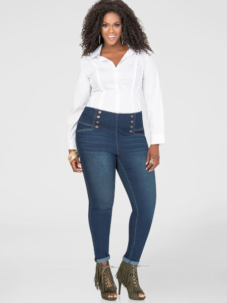 Elegant high waisted plus size skinny jeans