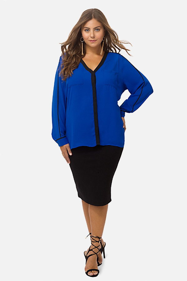 Blue Blouse Outfit In Plus Sizes - Plus Size Clothing