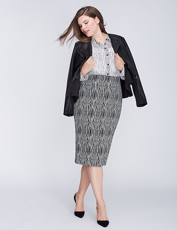 Pencil Skirt Faux Leather Jacket