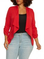 Ruffle Sleeves Drape Collar Plus Size Jacket Jeans Outfit