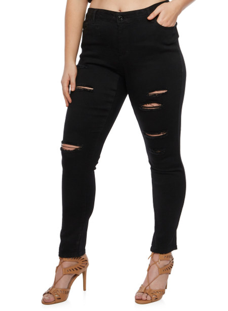 Plus Size Cello Distressed Skinny Jeans
