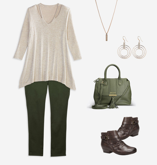 Cut out top ponte knit pants outfit