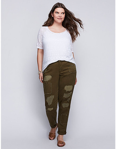 Distressed Boyfriend Jeans in Olive Lane Bryant