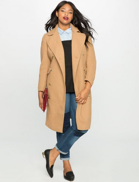 elegant casual denim wool coat outfit