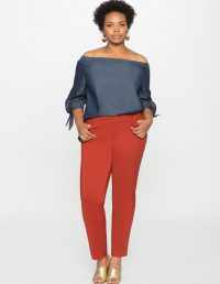 Kady Fit Double Weave Pant in Terracotta by Eloquii