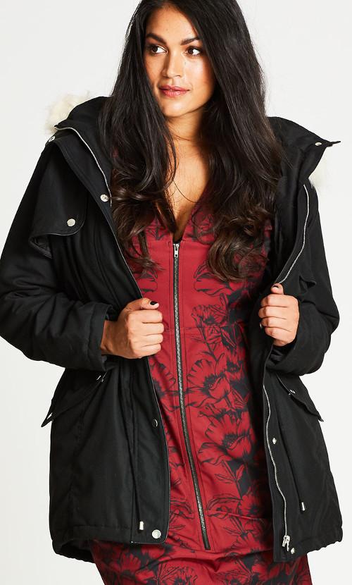 Black London Look Fur Trim Plus Size Parka