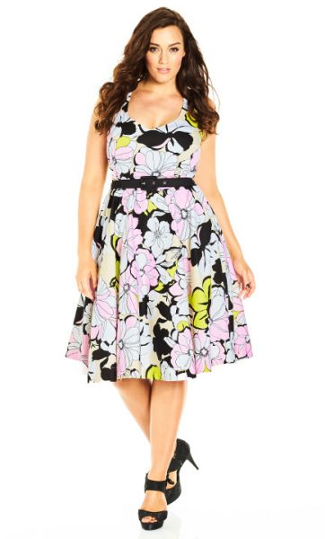 Floral Print Plus Size Fit and Flare Dress in radiant big blooms