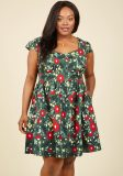 Cotton blend floral print dress