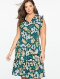 Flower Print Dress Ruffle Trim