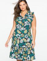 Flower Print Dress Ruffle Trim