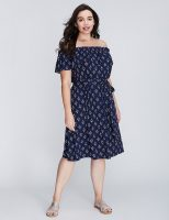 Off the shoulder ruffle floral print dress in women's plus sizes 1X 2X 3X